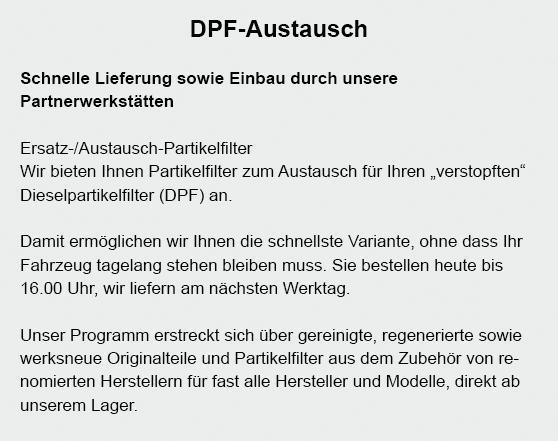 DPF-Austausch im Raum  Glatten